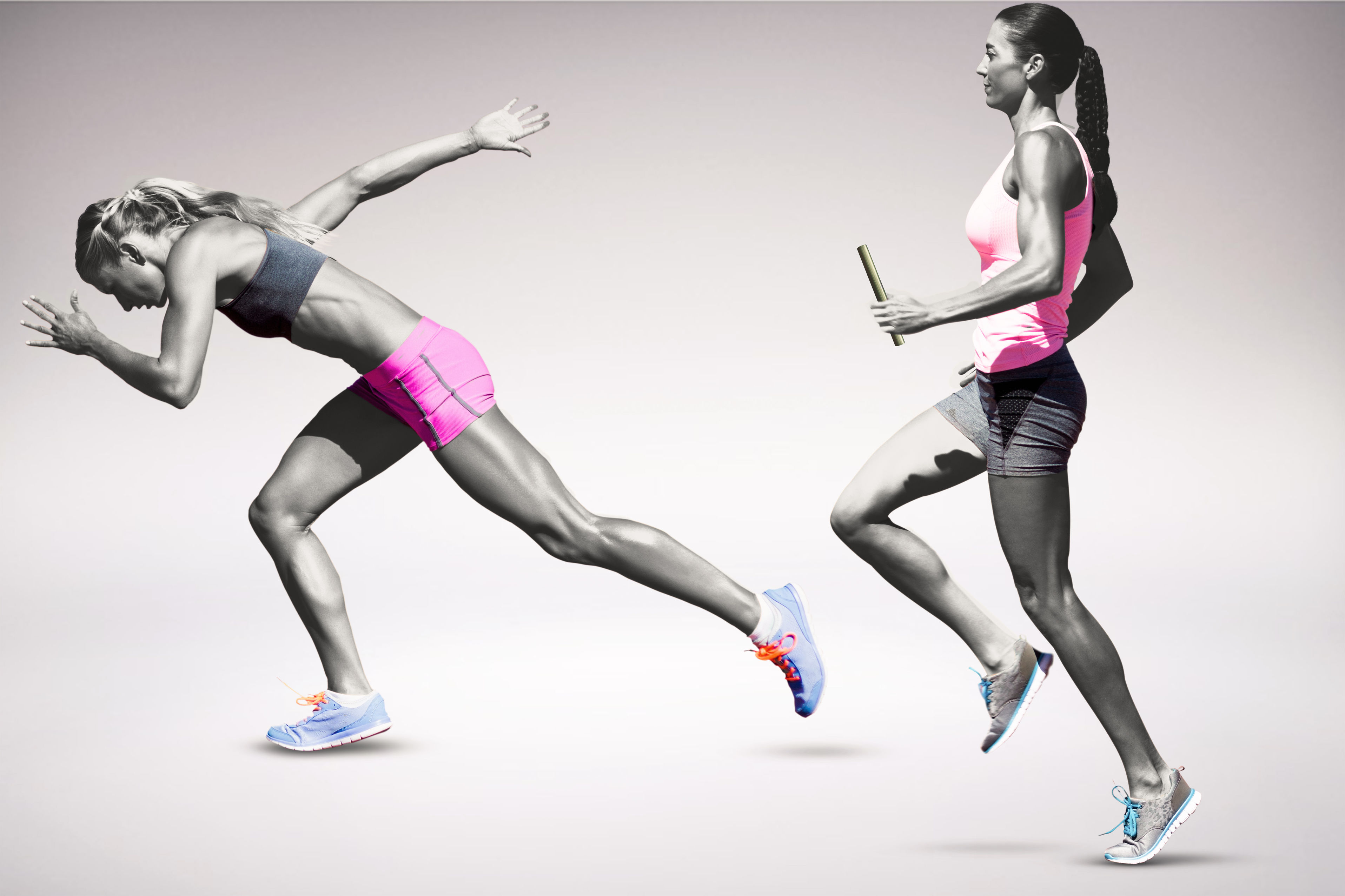 58401641 - sporty woman running on a grey background