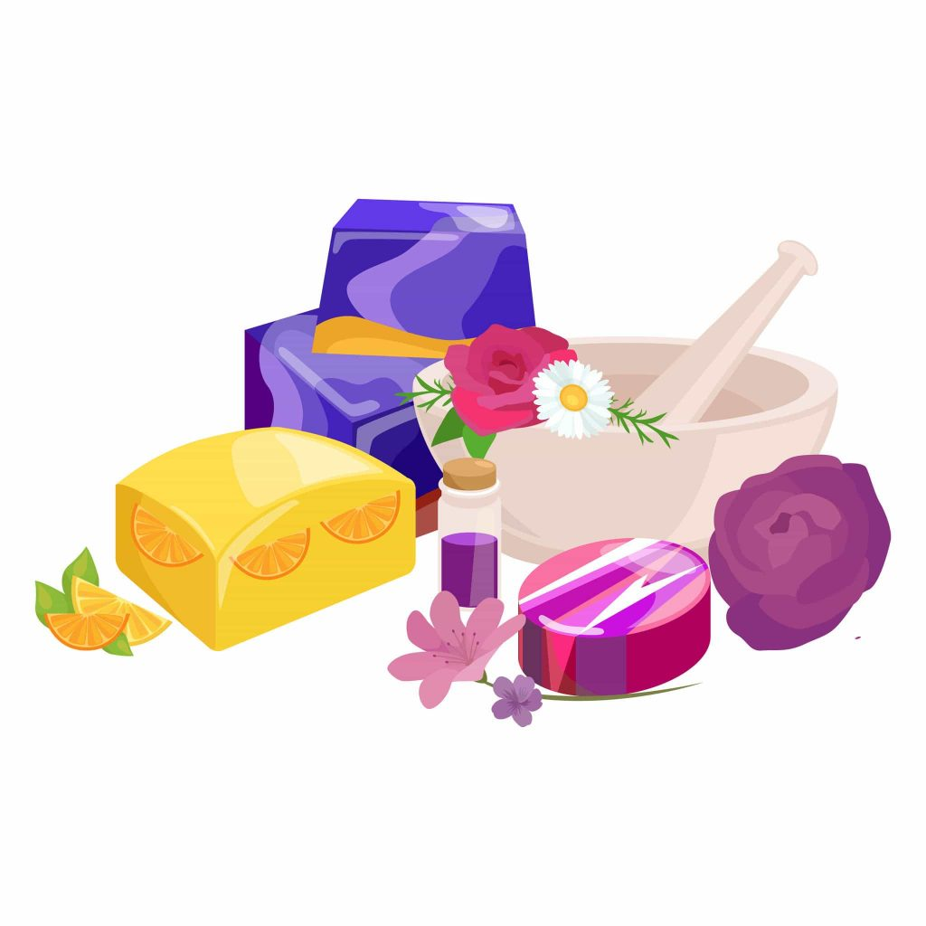 57886424 - homemade bars soaps, flowers and essential oil. vector illustrations icon set
